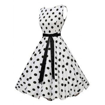 Vintage Sleeveless Polka Dot Belt Dress - WHITE S