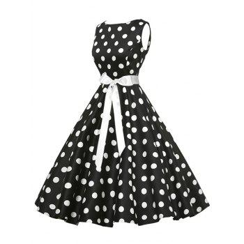 Vintage Sleeveless Polka Dot Belt Dress - BLACK M