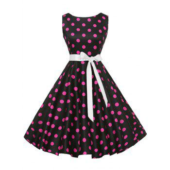 Vintage Sleeveless Polka Dot Belt Dress