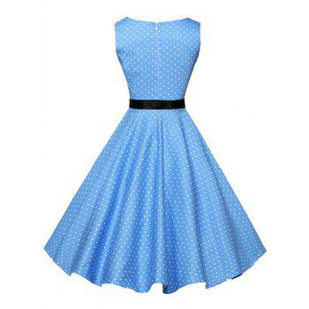 Vintage Sleeveless Polka Dot Dress with Belt - BLUE S