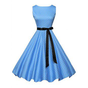 Vintage Sleeveless Polka Dot Dress with Belt - BLUE BLUE