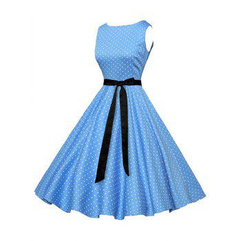 Vintage Sleeveless Polka Dot Dress with Belt - BLUE 2XL