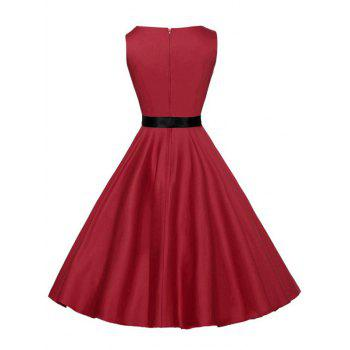 Vintage Sleeveless Plain Dress with Belt - RED S