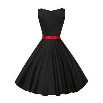 Vintage Sleeveless Plain Dress with Belt - BLACK BLACK