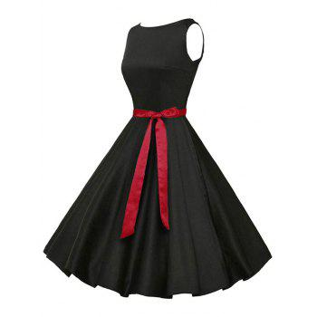 Vintage Sleeveless Plain Dress with Belt - BLACK S
