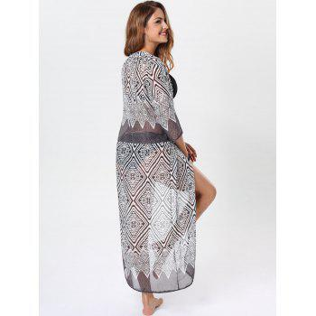 Maxi Cover Up with Bohemia Rhombus Print - BLACK BLACK