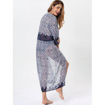 Maxi Cover Up with Bohemia Rhombus Print - PURPLISH BLUE L