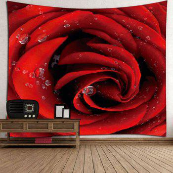 Dew Rose Print Wall Hanging Microfiber Tapestry - ROSE MADDER W59 INCH * L51 INCH