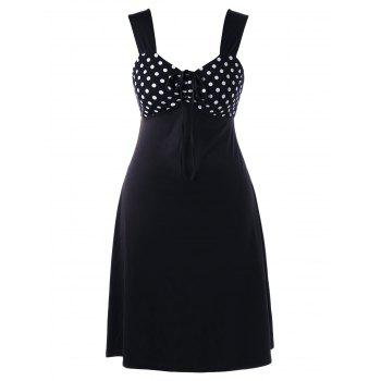 Plus Size Polka Dot Sleeveless Pin Up Dress