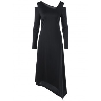 Open Shoulder Long Sleeve Asymmetric Dress
