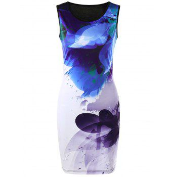 Ink Printing Sleeveless Ombre Bodycon Dress