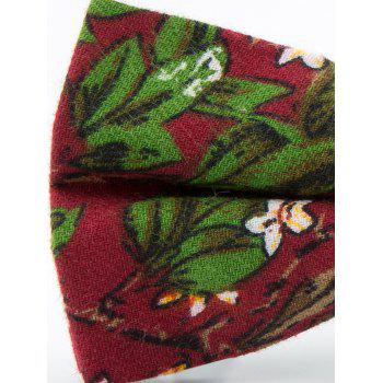 Tiny Flowers Pattern Cotton Blend Bow Tie - CLARET