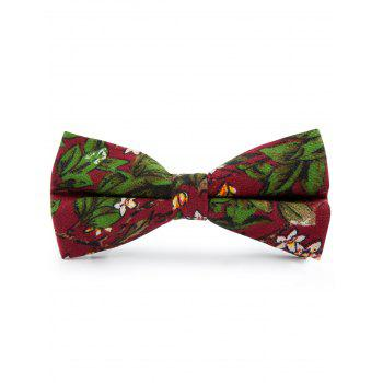 Tiny Flowers Pattern Cotton Blend Bow Tie - CLARET CLARET