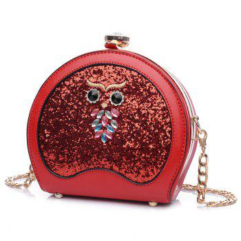 Owl Sequin Chain Crossbody Bag