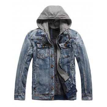 Pocket Design Detachable Hooded Denim Jacket