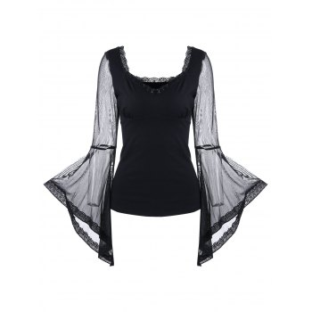 Bell Sleeve Sheer Mesh Insert Top