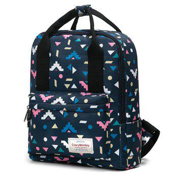 Printed Nylon Backpack - BLACK