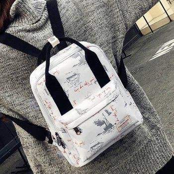 Printed Nylon Backpack - APRICOT