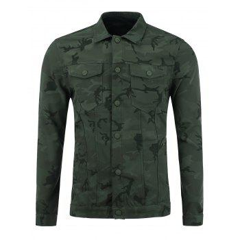 Double Pockets Camouflage Single Breasted Jacket