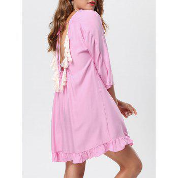 Backless Tassel Lace Up Casual Dress