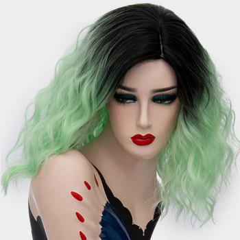 Medium Ombre Side Part Shaggy Natural Wave Synthetic Wig - NEON GREEN