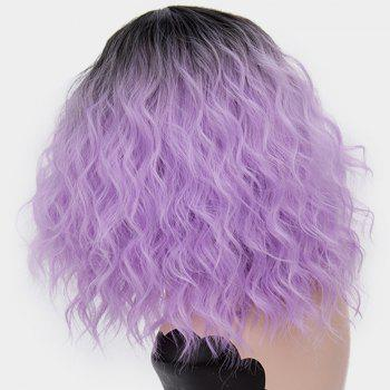 Medium Ombre Side Part Shaggy Natural Wave Synthetic Wig - PURPLE
