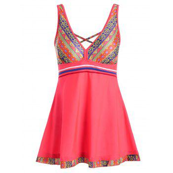 Printed Padded Plus Size Skirted One Piece Swimsuit