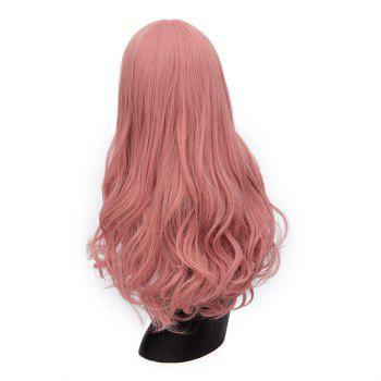 Long Middle Part Shaggy Wavy Synthetic Wig - PINK SMOKE