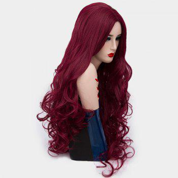 Ultra Long Center Part Shaggy Layered Curly Synthetic Wig - WINE RED