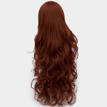 Ultra Long Center Part Shaggy Layered perruque synthétique bouclée - Brun rouge