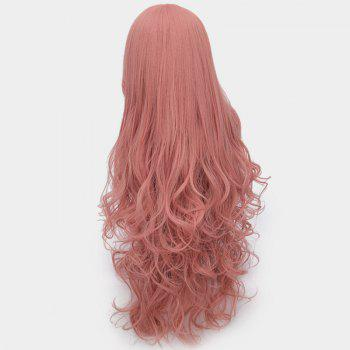 Ultra Long Center Part Shaggy Layered Curly Synthetic Wig - PINK SMOKE