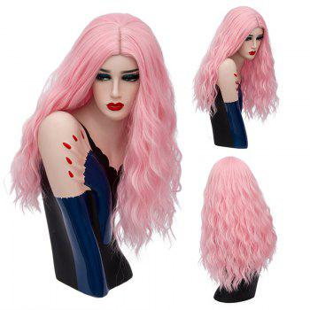 Long Center Parting Fluffy Natural Wave Synthetic Wig - WATER RED WATER RED