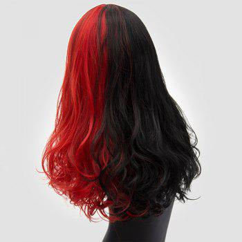 Long Middle Part Shaggy Two Tone Curly Synthetic Wig -  RED/BLACK
