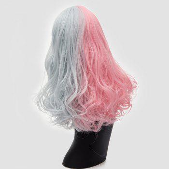 Long Middle Part Shaggy Two Tone Curly Synthetic Wig -  SILVER / PINK