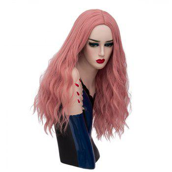 Long Center Parting Fluffy Natural Wave Synthetic Wig - PINK SMOKE