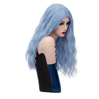 Long Center Parting Fluffy Natural Wave Synthetic Wig -  WINDSOR BLUE