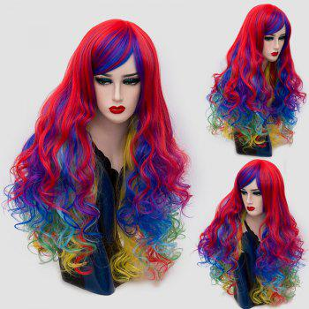 Long Side Bang Layered Shaggy Curly Colormix Synthetic Wig - COLORFUL COLORFUL