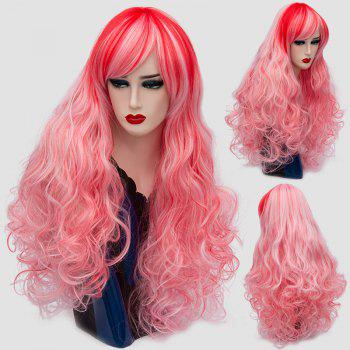 Long Side Bang Layered Shaggy Curly Colormix Synthetic Wig - PINK PINK