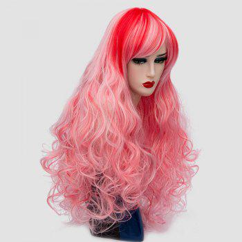 Long Side Bang Layered Shaggy Curly Colormix Synthetic Wig -  PINK