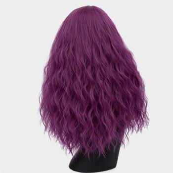 Long Center Parting Fluffy Natural Wave Synthetic Wig - PURPLE