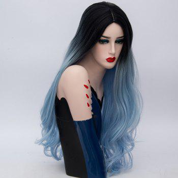 Long Middle Parting Ombre Layered Wavy Synthetic Wig -  BLUE/BLACK