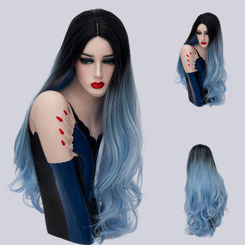 Long Middle Parting Ombre Layered Wavy Synthetic Wig - BLUE AND BLACK BLUE/BLACK