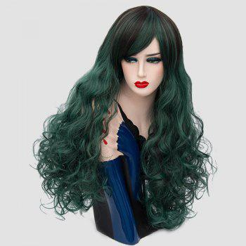Long Side Bang Layered Shaggy Curly Colormix Perruque synthétique - Vert Foncé