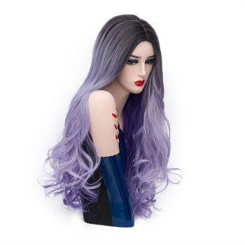 Long Middle Parting Ombre Layered Wavy Synthetic Wig -  SUEDE ROSE