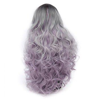 Long Middle Parting Ombre Layered Wavy Synthetic Wig -  SMASHING
