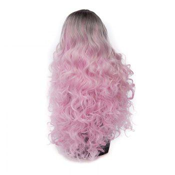 Long Middle Parting Ombre Layered Wavy Synthetic Wig -  PINKISH PURPLE