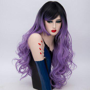 Long Side Part Layered Shaggy Curly Ombre Synthetic Wig -  PURPLE