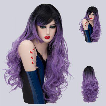 Long Side Part Layered Shaggy Curly Ombre Synthetic Wig