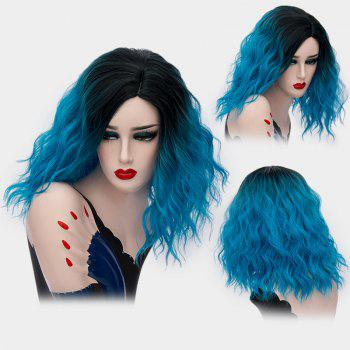 Medium Ombre Side Part Shaggy Natural Wave Synthetic Wig - BLUE BLUE