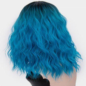 Medium Ombre Side Part Shaggy Natural Wave Synthetic Wig -  BLUE